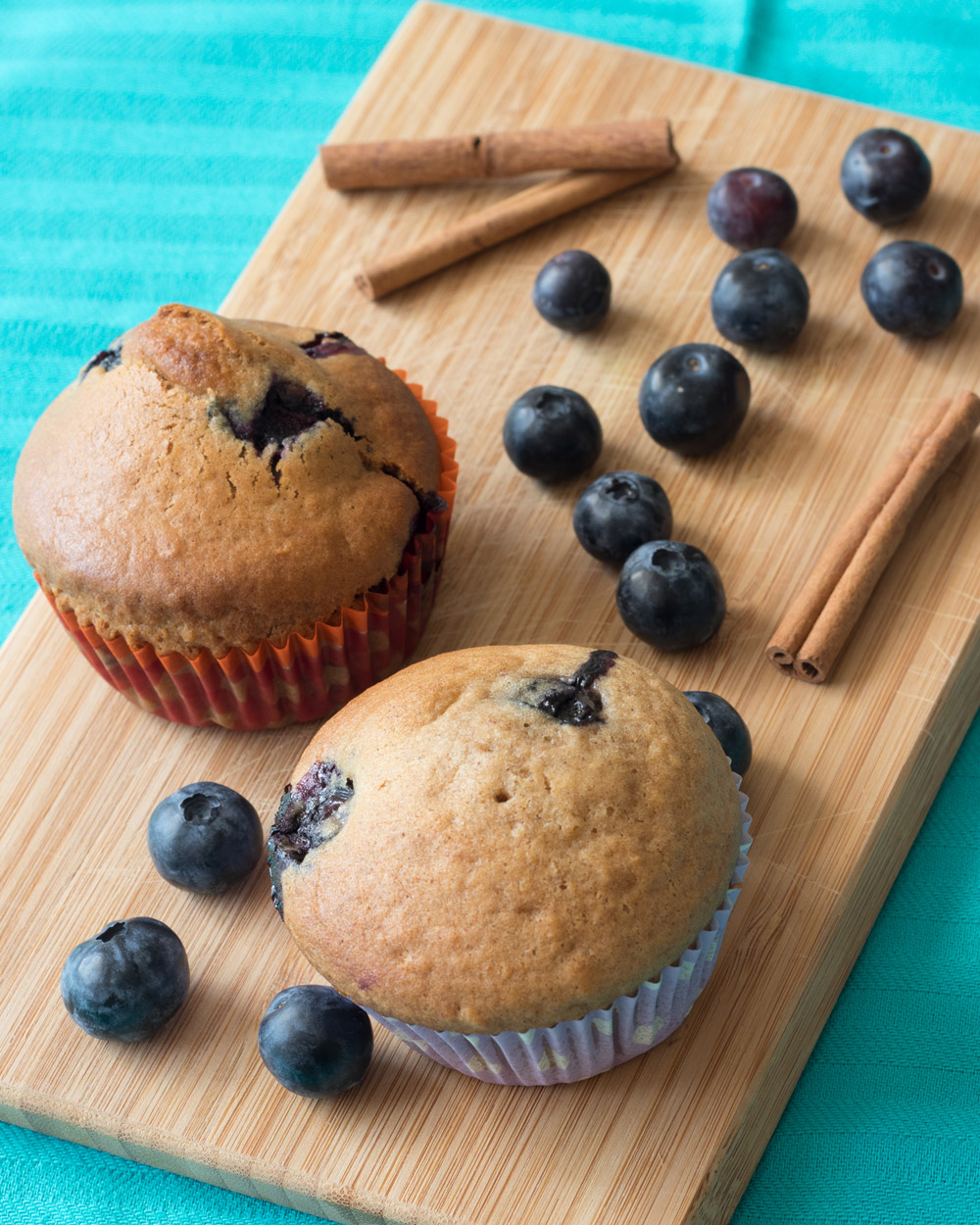 Food Photography - Blueberry muffin with a cinnamon twist